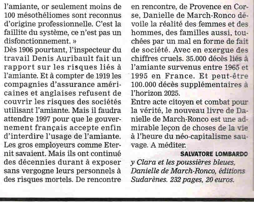 Le journal La Marseillaise parle du livre de Danielle De March-Ronco