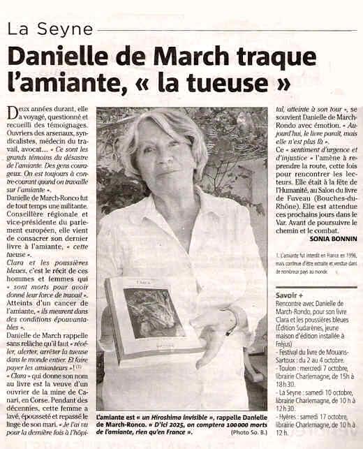 Var Matin parle du livre Clara de Danielle De March-Ronco