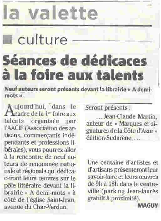 Article dans le journal Var matin dédicace du livre Marques et signatures de la céramique d'art de la Côte d'Azur